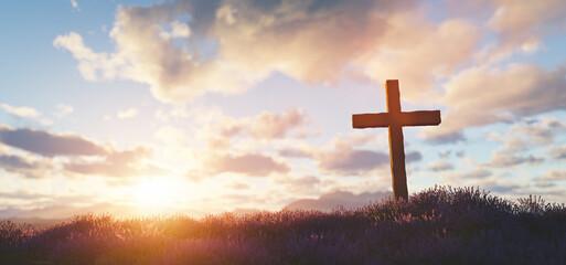 Fototapeta Cross at sunset religion and faith obraz