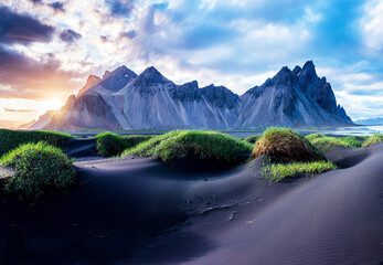 Fototapeta Scenic landscape with most beautiful mountains Vestrahorn on the Stokksnes peninsula and cozy lagoon with green grass on the sand dunes at sunset in Iceland. Exotic countries. Amazing places. obraz