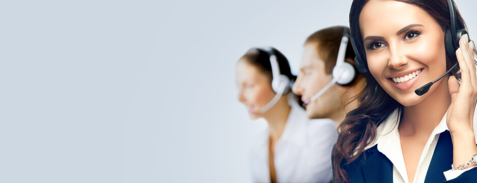 Contact Call Center Service. Customer support or sales agents. Group of callers or answering phone operators. Grey background with copy space area for some slogan text. Confident style.