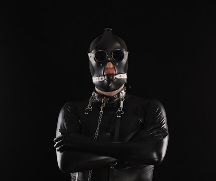 male fetish, man in leather mask