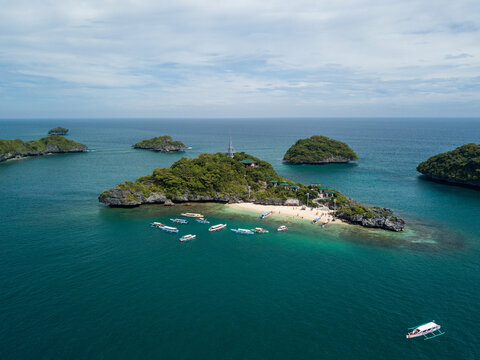 Panorama Drone Picture Of Lopez Island In Hundred Islands National Park In Pangasinan, Philippines
