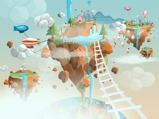 childrens wallpaper city flies in the sky