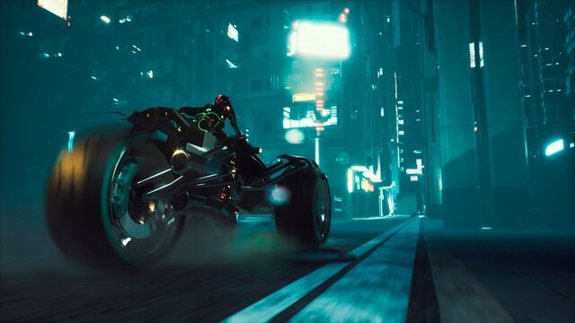 Cyborg rides a huge speed on the motorcycle of the future through the neon streets of the night cyber city. A view of the neon sci-fi city. 3D Rendering.