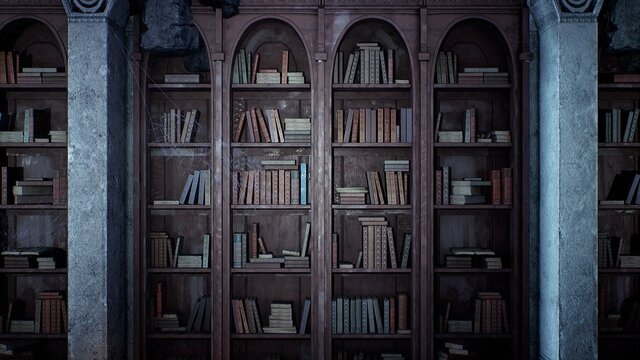 An ancient medieval library with old books and cobweb-covered bookshelves. 3D Rendering.