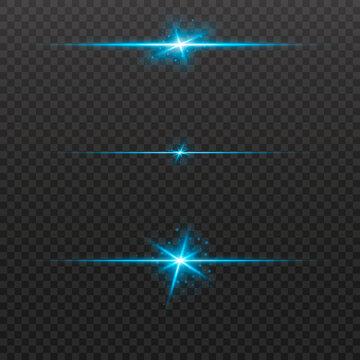 Light lines. Light effect. A little dust. Beautiful light flares. Lens flares. Luminous sparkling lines. Laser effect. Light rays. Special design of line. Vector illustration. Transparent background.