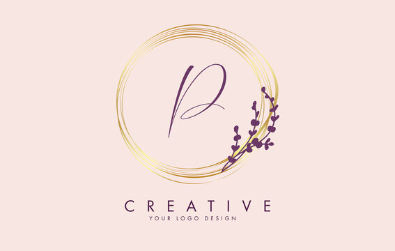 Handwritten P Letter logo design with golden circles and purple leaves on branches around. Vector Illustration with  P letter.