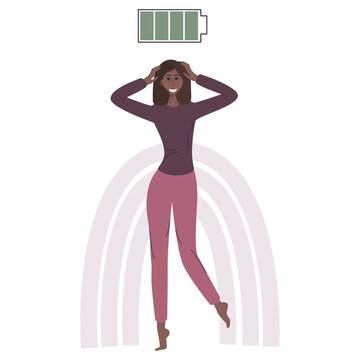 The concept of mental health. A happy black African woman with a green charged battery. A girl with no psychological problems. Vector illustration in a flat linear style