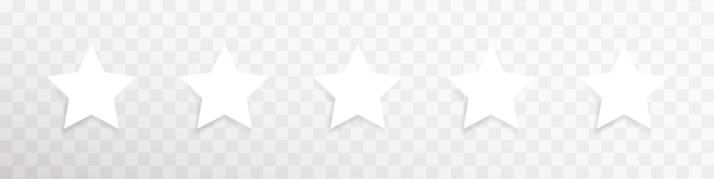 Vector white isolated five stars template. Five stars rating concept vector illustration. Customer feedback concept signs, symbols. Transparent. Web template. User interface. Vector graphic