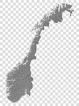 Blank map of Norway. Municipalities of Norway map. High detailed gray vector map of Norway on transparent background for your web site design, logo, app, UI. EPS10.