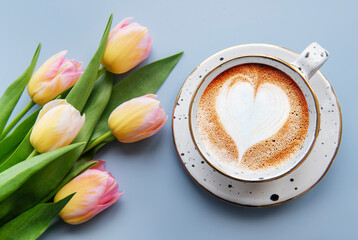 Spring tulips and cup of coffee