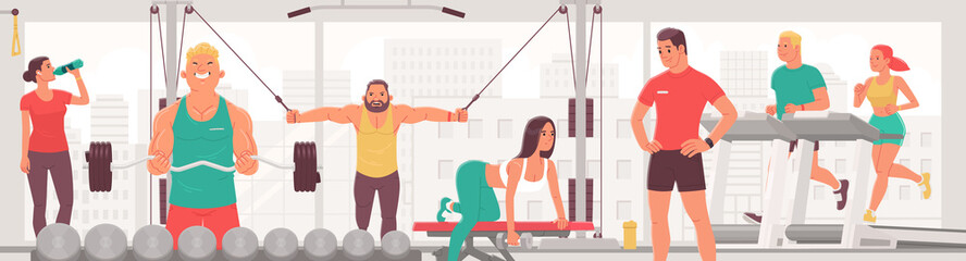 People exercising in the gym. Men and women perform strength and cardio exercises, run on a treadmill