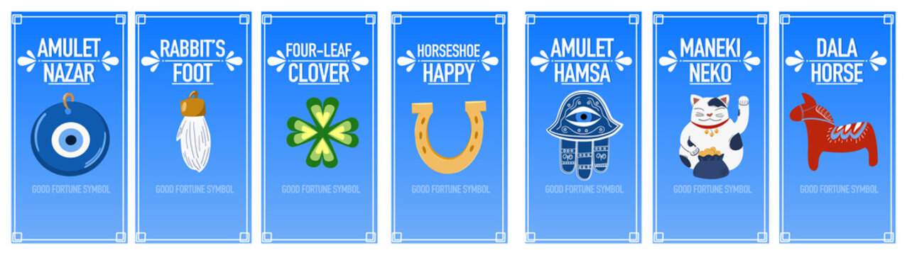 Banners good luck charms: maneki neko, horseshoe, four-leaf clover, dala horse, nazar amulet, hamsa, rabbit's foot. A set of illustrations of symbols of good luck, success, and prosperity.