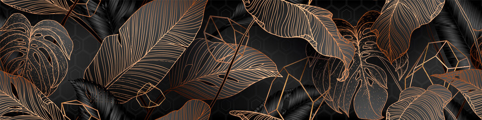 Obraz Palm leaves, gold, black, white marble template, artistic covers design, colorful texture, modern backgrounds. Minim pattern, graphic brochure. Luxury illustration - fototapety do salonu