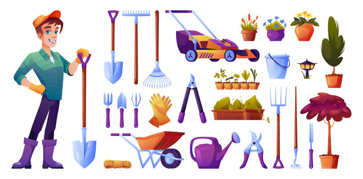 Gardening tools isolated set. Vector seedling and water can, cutters and fertilizer, rubber gloves and pitchfork, wheelbarrow and man gardener with shovel. Rakes and bucket, potted flowers, plants