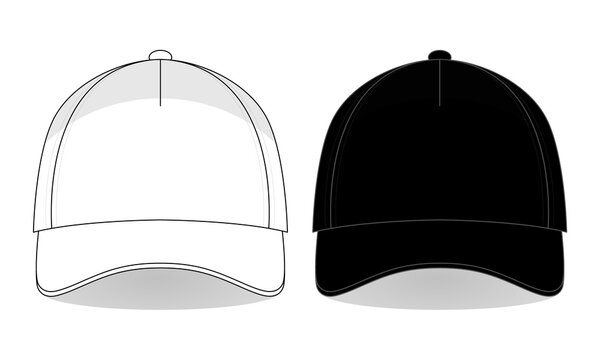 Front View White and Black Trucker Cap Template Vector.