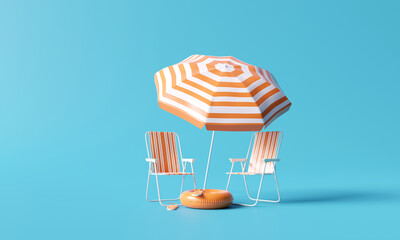 Fototapeta Beach umbrella with chairs and beach accessories on blue background. summer vacation concept. 3d rendering obraz