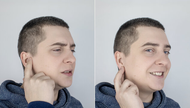 Before and after. On the left, the man indicates ear pain, and on the right, indicates that the ear no longer hurts. Pain management and professional medical care assistance concept