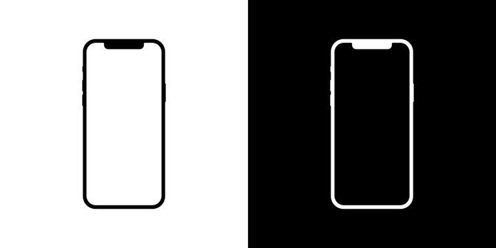 IPhone 12 Pro, IPhone 11 Pro. Mobile smartphone mockup on black and white background with blank screen. Vector illustration.  Vinnytsia, Ukraine - March 23, 2021