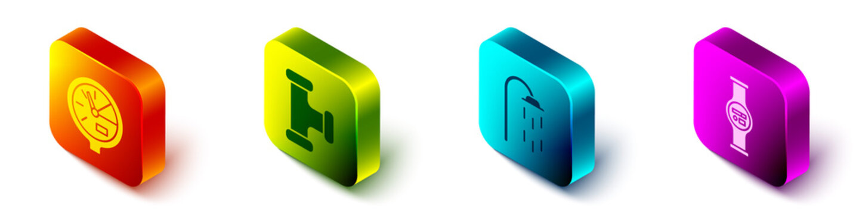 Set Isometric Water meter, Industry metallic pipe, Shower and Water meter icon. Vector