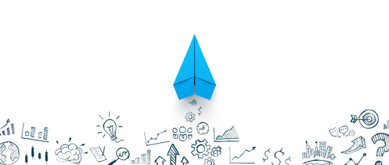 Blue paper plane and business strategy on white background, Business success, innovation and...