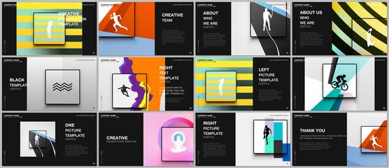 Obraz Presentation design vector templates, multipurpose template for presentation slide, brochure cover design. Abstract colored sport backgrounds in unique style for sport event, fitness design. - fototapety do salonu
