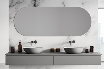 Modern classic bathroom with double sink, panoramic window, city view, minimalistic white marble and concrete interior design.