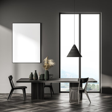 Grey living room interior with chair and table near window, mock up