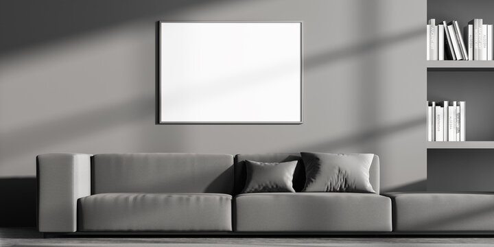 Waiting room interior with empty white poster on grey wall
