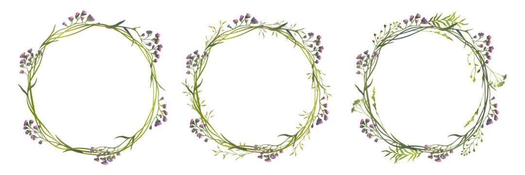 Set of lilac limonium wreaths with wild herbs. Vector illustration