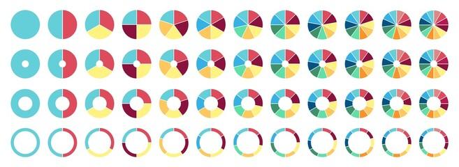 Fototapeta Circle pie chart. 2,3,4,5,6,7,8,9,10,11,12 sections or steps. Flat process cycle. Progress sectors. obraz