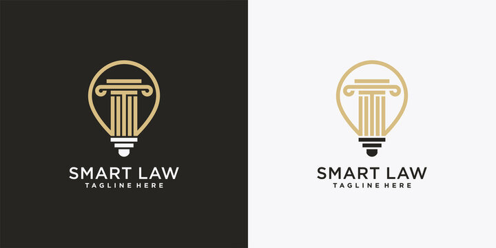 Justice law logo design template with creative smart concept