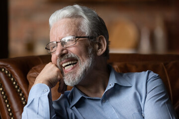 Happy life on pension. Mature aged man retiree wear glasses sit on sofa look aside laugh...