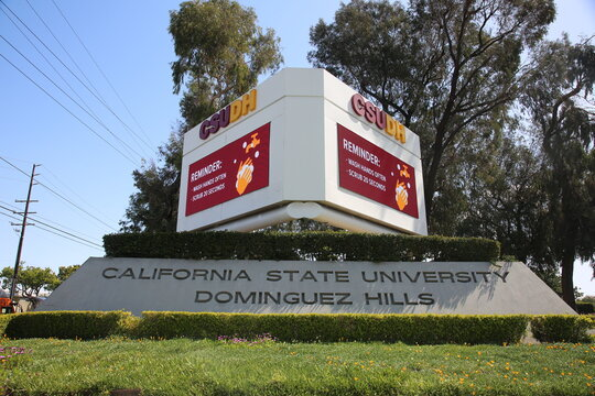March 20, 2021 Dominges Hills, California - USA: Entrance and Marque Sign to California State University, Dominges Hills, California. Editorial Use Only.