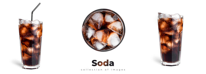 Fototapeta Soda with ice in a transparent glass isolated on a white background. obraz