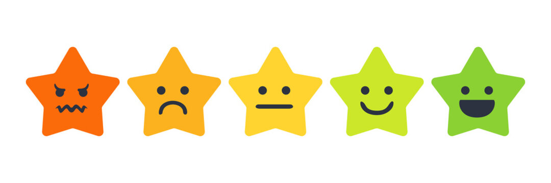 User experience feedback concept with different mood emoji stars. Feedback star emoji rate form for web site or app