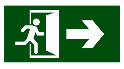 emergency exit door vector. direction arrow sign. green color. safety illustration Wall mural