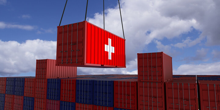 A freight container with the swiss flag hangs in front of many blue and red stacked freight containers - concept trade - import and export - 3d illustration