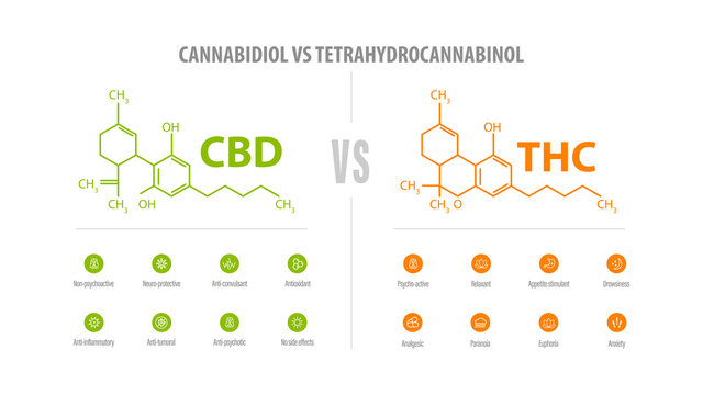 CBD vs THC, list of differences with icons and chemical formulas. White banner with comparison CBD and THC.
