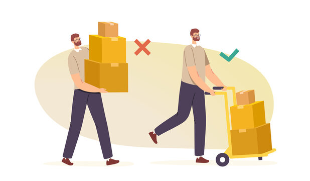 Right and Wrong Manual Handling of Heavy Goods. Male Characters Carry Carton Boxes Correctly and Improperly Way