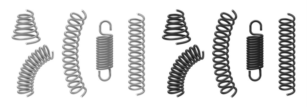 Coil and metal spring flexible cable mockup set. Realistic stainless black and silver spirals