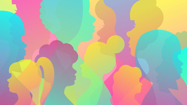 Colored background from female silhouettes. Concept for diversity, feminism, international women's day. Vector stock illustration.