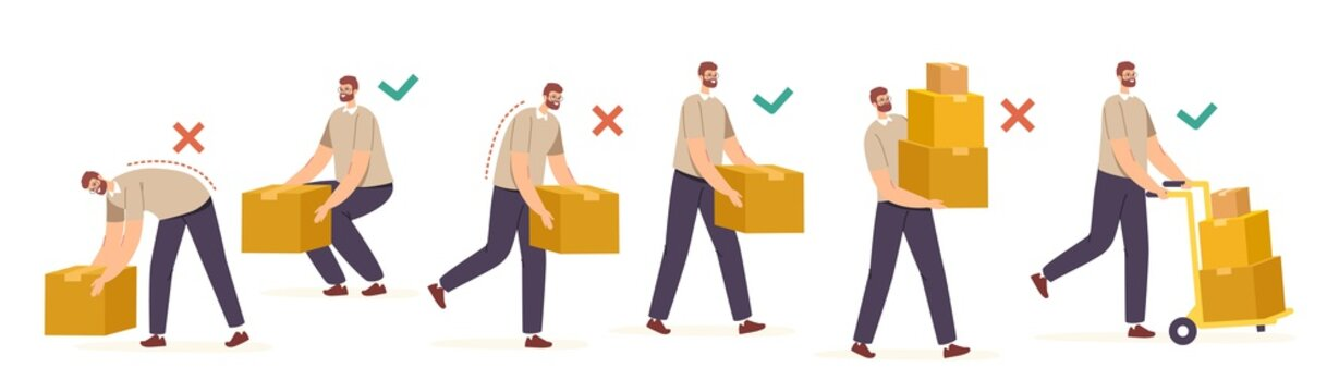 Right and Wrong Manual Handling and Lifting of Heavy Goods. Male Characters Carry Carton Boxes Correctly and Improperly