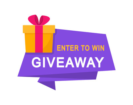 Giveaway, enter to win poster. Surprise gift box. Poster template for promo in social media. Win a prize giveaway. Vector illustration.
