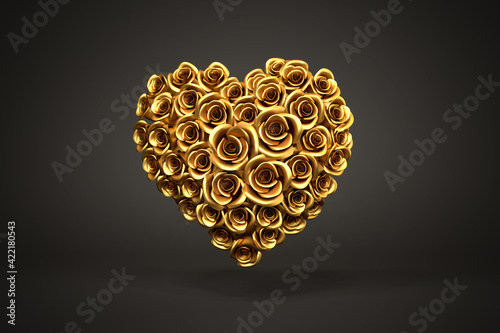 3d rendering: A heart of golden roses in front of a black background. Love and tenderness concept - Valentines Day, Wedding or Mother's Day
