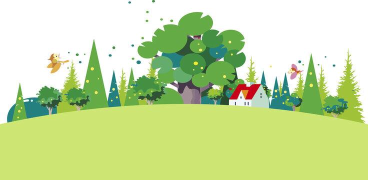 緑の季節の丘の上の小さな家