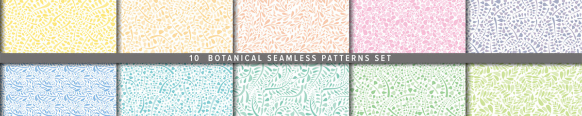 Fototapeta Seamless vector pattern set. Botanical motif, nature motif background. ナチュラル背景のベクターパターンセット