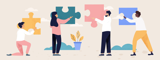 Obraz Teamwork and collaboration concept with people with puzzle pieces - fototapety do salonu
