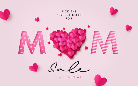 Mothers Day Sale banner. Holiday background with big heart made of pink and red Origami Hearts on soft pink background with paper cut Mom text. Design for fashion ads, poster, flyer, card, website