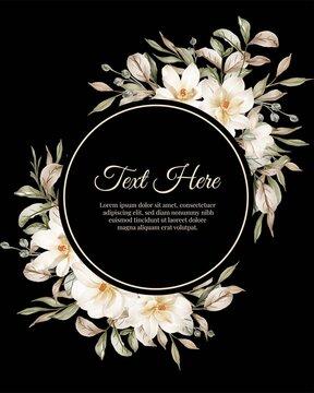 flower round frame of flower magnolia white