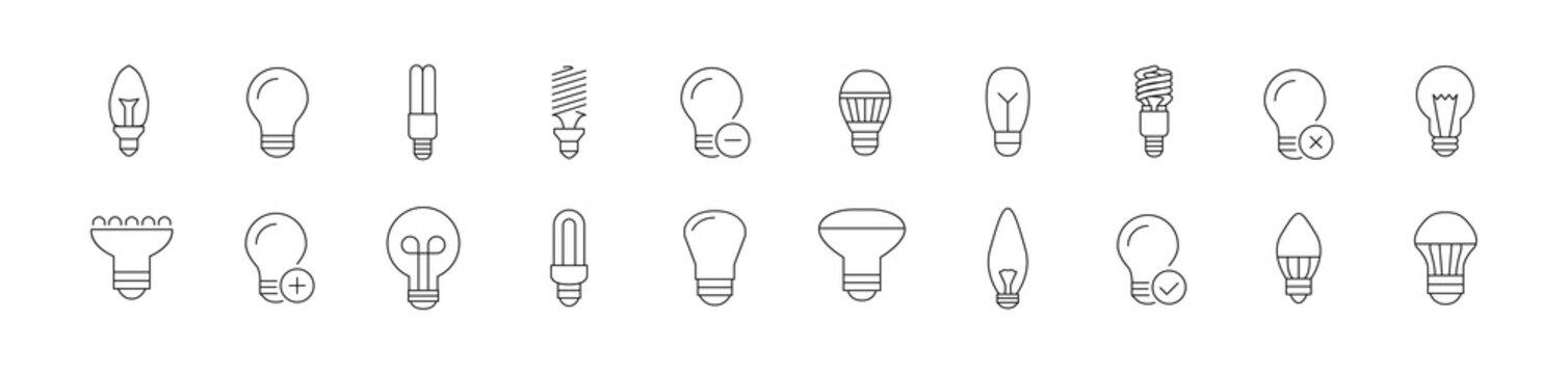 Stroke vector bulb line icons.